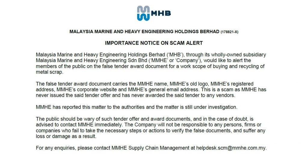 Important Notice on Scam Alert – MHB